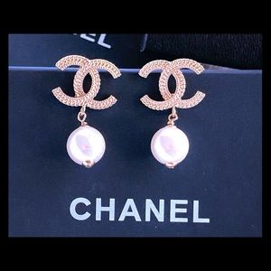 Chanel CC Drop Pearl Earrings